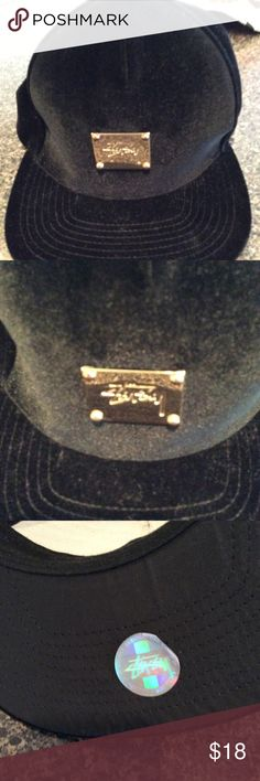 Stuasy Velvet BB Cap Official authentic stussy black velvet truckers hat with GoldMedal logo on the front adjustable comes with certified branded label  in excellent condition can be worn by man or woman Stussy Accessories Hats