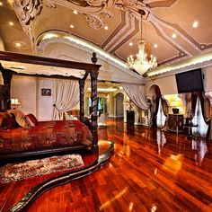 Modern Home Decor Bedroom Dream Rooms, Dream Bedroom, Home Decor Bedroom, Awesome Bedrooms, Beautiful Bedrooms, Castle Bedroom, Mansion Bedroom, Fantasy Bedroom, Modern Bedroom Design