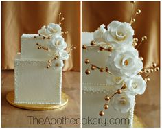 Square wedding cake. White and gold. theApothecakery.com