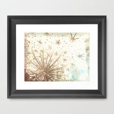 Queen Anne's Lace Retro Stars Framed Art Print by Chickens in the Trees - $37.00