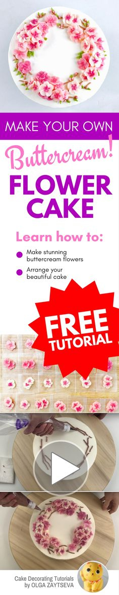 How to make Cherry Blossom buttercream flower wreath cake - Cake decorating tutorial by Olga Zaytseva. Learn how to pipe variety of tiny Cherry Blossoms and create this spring inspired buttercream flower wreath cake. #cakedecorating #cakedecoratingtutorial #buttercreamflowercake #buttercreamflowers