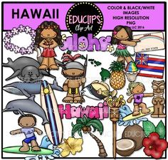 This is a set of images connected with the Island of Hawaii.  This collection contains 50 images: Hula dancing, Pele, Menehune, surfers, pineapple, island chain, tiki god and torch, shave ice, state fish, flowers, coconuts and tree, dolphin, Nene, whale, lei, Hawaiian flag, license plate, monkey seal and word art.  25 color images (as shown) and the same 25 in B&W.