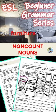 Use these ESL grammar worksheets and noun activities to help your students understand noncount (uncountable) nouns.  These ESL teaching activities will help your English Language Learners.understand when and when not to pluralize nouns. #esllesson #englishlessons #eslgrammarworksheets #noncountnounslessons Esl Lessons, Grammar Lessons, Grammar Worksheets, English Lessons, Learn English, Grammar Practice, Teaching Grammar, Teaching English, English Verbs