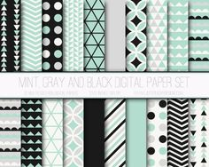 Mint, Black and Gray Digital Paper Set by Just Peachy Digital Designs