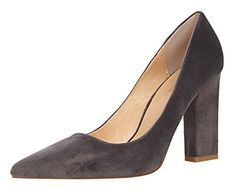 Passionow Womens New Style Plain Pointed Toe Slipons Chunky Block Heel Suede Dressy Pumps 8 BMUSGray -- Check this awesome product by going to the link at the image.-It is an affiliate link to Amazon. #WeddingShoes