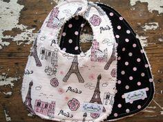 Baby Girl Bibs - Paris Eiffel Tower & Glitter Polka Dots - Set of 2 - Pink Black and White