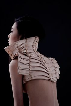 Leather collar/shoulder piece by Una Burke