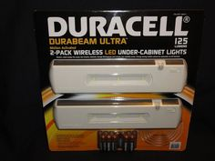 Bought these at Costco for around $15. They are awesome! No wiring. Easy installation. Gives off plenty of light. 2 settings. Motion sensor or On/Off. Duracell – DuraBeam Ultra, 2-Pack Wireless LED Under-Cabinet Lights. ~Kathy