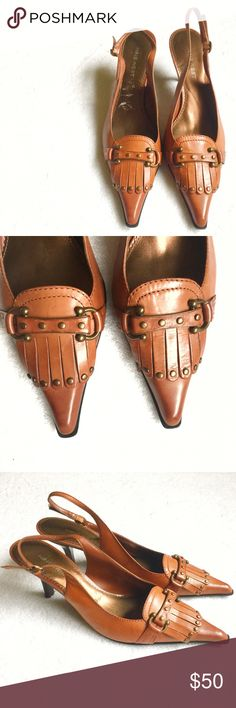 Nine West Pointy Brown Leather Heels 8 Nine West Brown Leather Penny Loafer Style Pointy Heels * Brand new without tags * US Women's Size 8 * Heel Height: 2.5 inches * Brass tone detail Nine West Shoes Heels