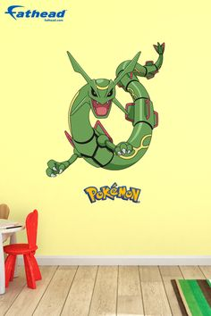 Update your kids bedroom with their favorite Pokémon character today! SHOP Fathead removable vinyl wall decals at  http://www.fathead.com/kids/pokemon/rayquaza-wall-decal/ | DIY Kids Fun Bedroom Decor Ideas | Boys + Girls Bedroom Wall Art Decor