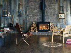 Amtico abstract patina dusk flooring and nice wood-burner