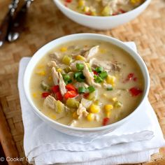 This light corn chowder recipe uses leftover turkey or chicken. It's hearty, satisfying and a fraction of the calories of most chowders.   from @cookincanuck