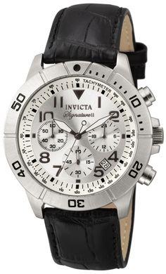 Invicta Men's 7283 Signature Chronograph Silver Dial Black Leather Strap