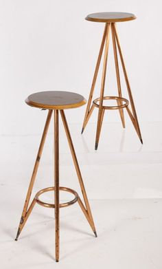 pair mid century modern bar stools walnut tops copper clad legs