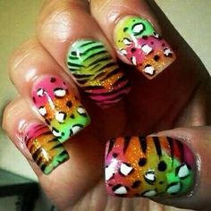 bright acrylic animal print - Nail Art Gallery nailartgallery.nailsmag.com by nailsmag.com #nailart