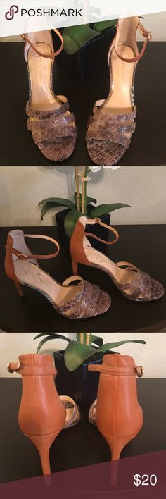 Jessica Simpson Size 8.5 Heel These shoes are comfortable and great for business casual days in the office or a breezy summer dress. Worn twice. Like New. Tan Heel that travels up the back of the shoe and a taupe snake print on the front. Jessica Simpson Shoes Heels