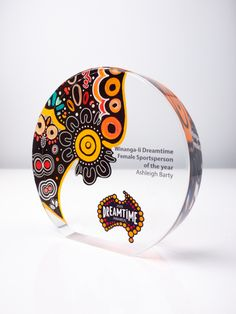 Featured The Dreamtime Awards Custom designed and hand shaped acrylic with highly polished finish Rounded and polished edge detail UV flatbed print on front and reverse Laser engraved & colour. Glass Awards, Crystal Awards, Ad Design, Design Awards, Layout Design, Plaque Design, Sign Design, Certificate Layout, Glass Trophies