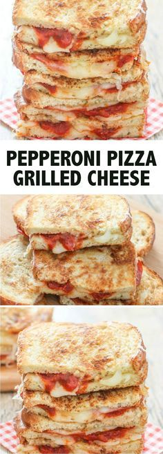 Pepperoni Pizza Grilled Cheese Sandwiches with Jimmy John's Day Old French Bread