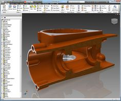 A section view of a casting in Autodesk Inventor 2012