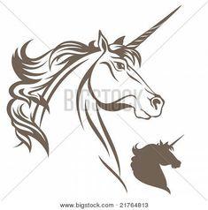 Unicorn Silhouette White Outline on white and