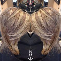 lighter blonde highlights and deeper brunette lowlights
