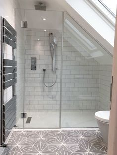 Glass shower screen and door, angled to fit a sloping ceiling. Attic Shower, Small Attic Bathroom, Small Shower Room, Loft Bathroom, Upstairs Bathrooms, Bathroom Interior, Loft Ensuite, Bathroom Ideas, Family Bathroom