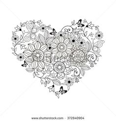 Heart of flowers and butterflies for coloring books for adults and older children.
