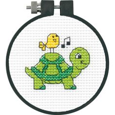 "Turtle Counted Cross Stitch Kit- 3"" Round 11 Count"