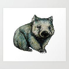 Wombat Art Print by SaraSotoMotto