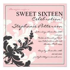 Elegant Damask Floral Sweet Sixteen Invitation
