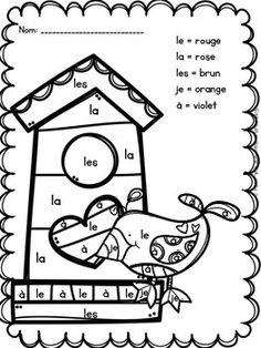 Colorie Par Mots Frequents La Saint Valentin French Colors French Activities School Activities
