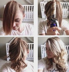 How to Quickly Curl Your Hair - Ponytail Curling Trick. I'm going to try this on vacation! #haircare