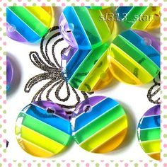 10pcs of Multi Color Stripes Lucite Drop Beads by sl313star