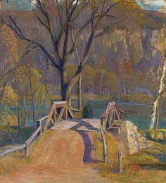 Canal Bridge, Smithtown, Daniel Garber. American Impressionist Painter (1880 - 1958)