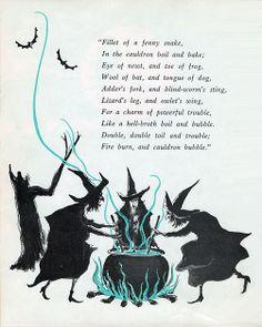 Illustration from vintage Halloween book. by socorro Macbeths Hexen. Moldes Halloween, Halloween Poems, Theme Halloween, Holidays Halloween, Halloween Crafts, Happy Halloween, Halloween Decorations, Halloween Witches, Halloween Rhymes