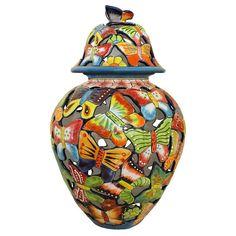 Talavera Jars & Vases Collection - Talavera Jar w/ Butterflies - TGJ260 Talavera Pottery, Ceramic Pottery, Hacienda Homes, Mexican Furniture, Fire Clay, Southwestern Decorating, Ginger Jars, Handmade Art, Butterflies