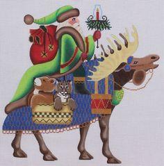 Brenda Stofft Designs Santa on Moose Hand Painted Needlepoint Canvas #BrendaStofftDesigns