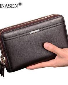 Contacts Portefeuille Monnaie avec Porte-cl/és RFID pour Hommes en Cuir v/éritable /à Double Fermeture /éclair Caf/é