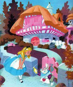Meeting the Rabbit by Al Dempster Alice Alice in the Wonderland Disney Disney Pixar, Disney Animation, Disney Art, Alice In Wonderland 1951, Adventures In Wonderland, Wonderland Party, Lewis Carroll, Disney Love, Disney Magic