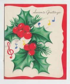 Vintage christmas sheet music on scroll greeting card hollycards vintage holly with floating music notes christmas greeting m4hsunfo