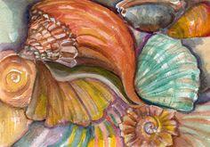 Original Shells Watercolor Seashells Painting by SharonFosterArt