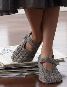 Yarnspirations.com - Patons Cabled Slippers - Patterns  | Yarnspirations  so cute!