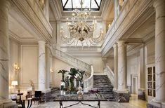 Milan Luxury Hotels   Palazzo Parigi Milan lobby staircase in white color scheme decoration   #Luxuryhotels #hospitality #Interiordesign
