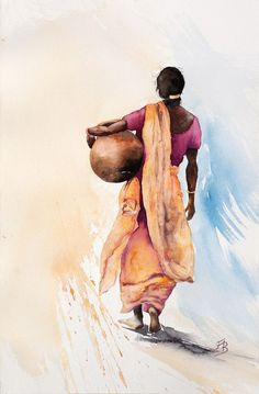 Online Shopping for the Sikh & Punjabi Community Worldwide- Art paint of an Indian women carrying water, Punjab, India. Watercolor Portraits, Watercolor Paintings, Art Sketches, Art Drawings, Simple Sketches, Art Village, India Art, India India, Indian Art Paintings