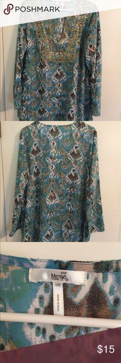 Great Boho Style Sequined Tunic Blouse Beautiful great Tunic with sequined details.  Great condition like new. Metro Seven Tops Tunics