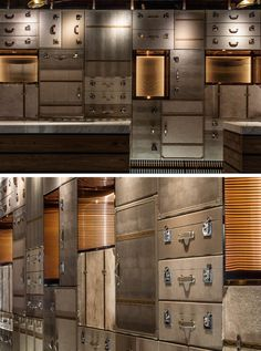 Design Detail – The wall behind this hotel's check-in desk is made of luggage Deco Restaurant, Restaurant Design, Hotel Lobby, Lobby Lounge, Reception Design, Wall Finishes, Hotel Interiors, Hospitality Design, Interior Walls