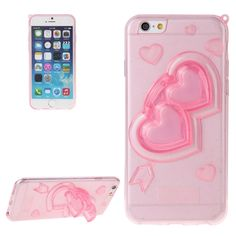 3D Love Heart Pattern TPU Protective Case with Holder & Lanyard for iPhone 6 Plus(Pink)
