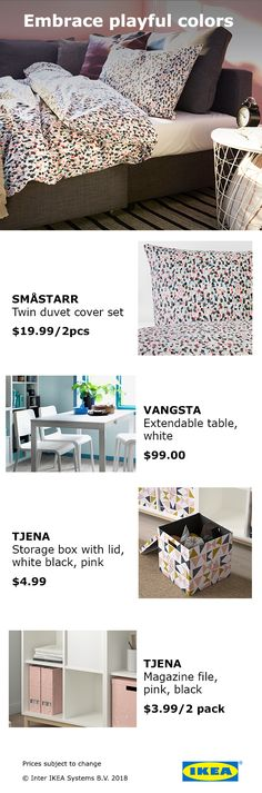 Brighten up your room with these eye-pleasing pastels. Pair SMÅSTARR twin duvet with TJENA storage box for maximum college room love! Dorm Furniture, Apartment Furniture, College Room Decor, College Dorm Rooms, Storage Boxes With Lids, Duvet Cover Sets, Bedroom Decor, Emo Bedroom, Ikea
