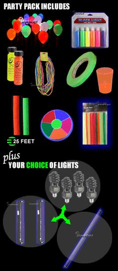Blacklight Party Pack (up to 10 guests) Neon Birthday, 13th Birthday Parties, 14th Birthday, Glow In Dark Party, Glow Party, Blacklight Party, Sweet Sixteen Parties, Ideias Diy, Its My Bday