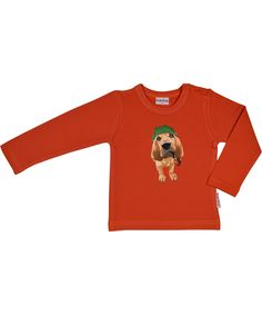 Baba Babywear roestkleurig oranje t-shirt met Sherlock Hond. baba-babywear.nl.emilea.be